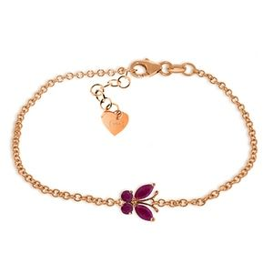 14K. SOLID GOLD BUTTERFLY BRACELET WITH RUBIES